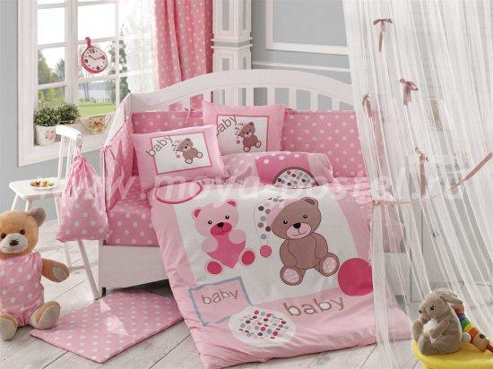 Постельное белье из поплина «PONPON» с одеялом, розовое, поплин в интернет-магазине Моя постель