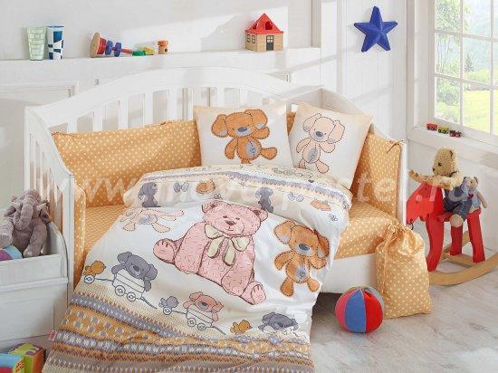 Детское желтое постельное белье «TOMBIK» с одеялом, поплин в интернет-магазине Моя постель