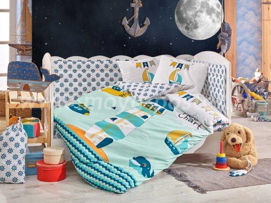 Детское постельное белье с одеялом «BABY SAILOR» из поплина, мятное в интернет-магазине Моя постель