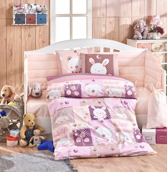 Детское постельное белье «SNOOPY» фиолетовое с розовым, поплин в интернет-магазине Моя постель