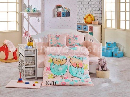 Постельное белье для детей «LOVELY» с одеялом, персиковое, поплин в интернет-магазине Моя постель