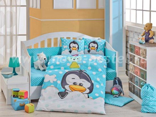 Детское постельное белье из поплина «PENGUIN» голубое, с одеялом в интернет-магазине Моя постель