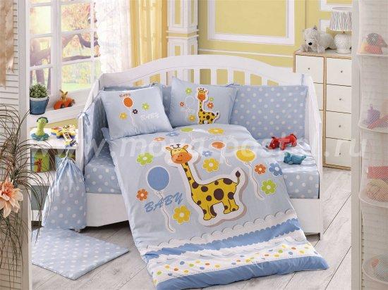 Постельное белье «PUFFY» голубого цвета, поплин, детское в интернет-магазине Моя постель