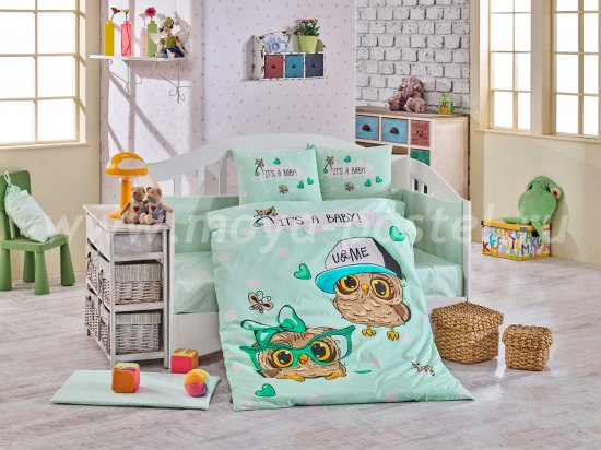 Бирюзовое постельное белье «COOL BABY», поплин, детское в интернет-магазине Моя постель