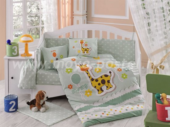 Мятное постельное белье с одеялом «PUFFY» из поплина, детское в интернет-магазине Моя постель