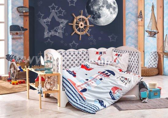 Детское постельное белье с одеялом «BABY SAILOR» из поплина, синее в интернет-магазине Моя постель