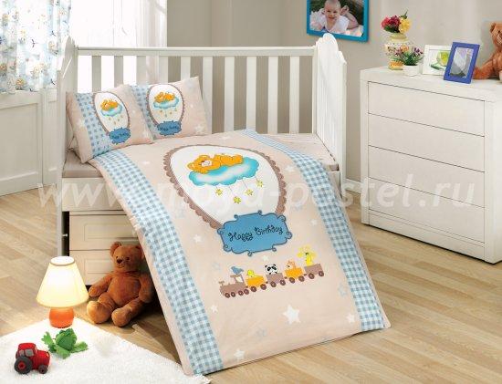 Постельное белье для детей «BAMBAM» бежево-голубое, поплин в интернет-магазине Моя постель
