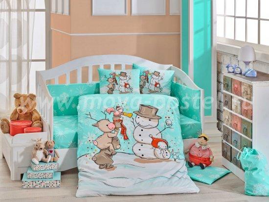 Мятное постельное белье с одеялом «SNOWBALL» для детей, поплин в интернет-магазине Моя постель