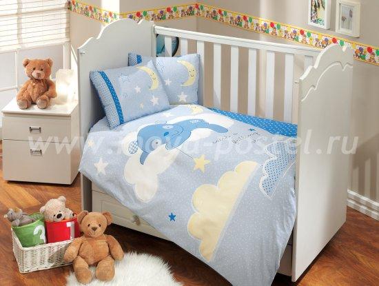 Детское постельное белье «SLEEPER» голубого цвета, поплин в интернет-магазине Моя постель
