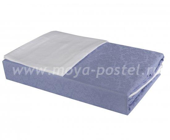 Евро комплект постельного белья «DAMASK», белый с синим, сатин-жаккард в интернет-магазине Моя постель - Фото 2