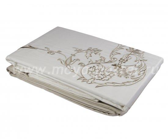Постельное белье из сатина «ADORA», бежевый с белым, евро в интернет-магазине Моя постель - Фото 2