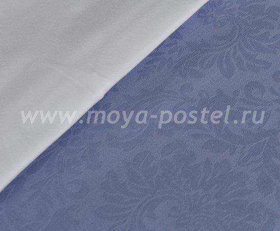 Евро комплект постельного белья «DAMASK», белый с синим, сатин-жаккард в интернет-магазине Моя постель - Фото 3