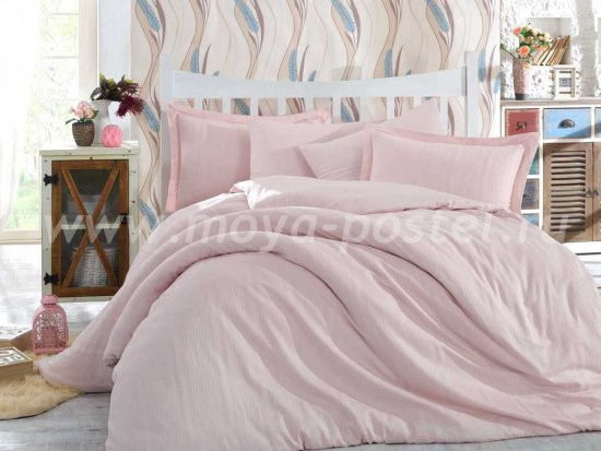 Постельное белье евро размера «STRIPE», сатин-жаккард, нежно-розовое в интернет-магазине Моя постель