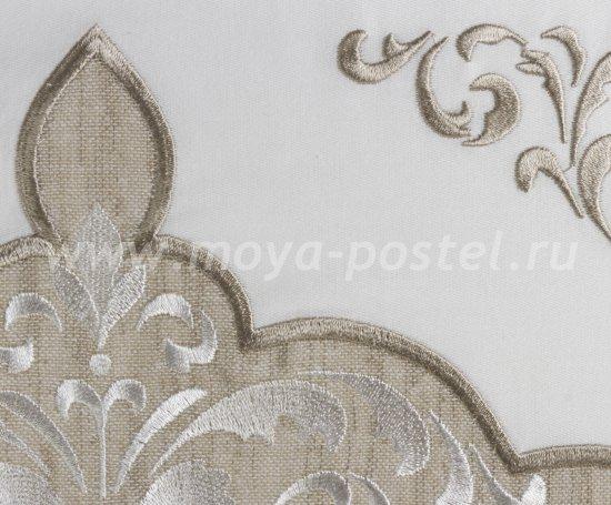 Постельное белье из сатина «ADORA», бежевый с белым, евро в интернет-магазине Моя постель - Фото 4