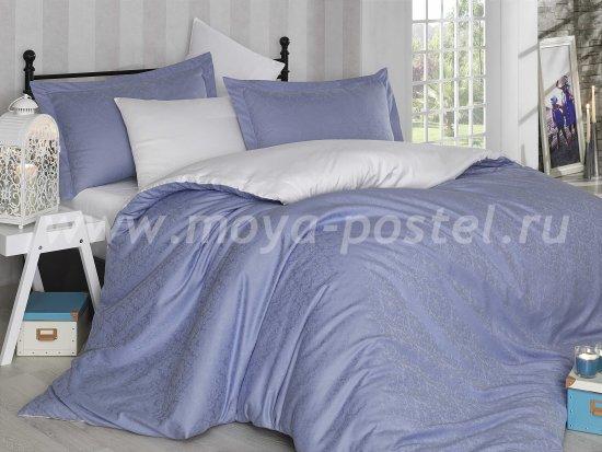 Евро комплект постельного белья «DAMASK», белый с синим, сатин-жаккард в интернет-магазине Моя постель