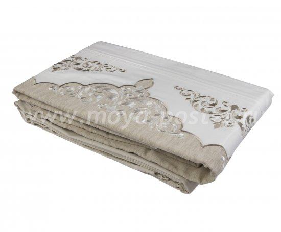 Постельное белье из сатина «ADORA», бежевый с белым, евро в интернет-магазине Моя постель - Фото 3