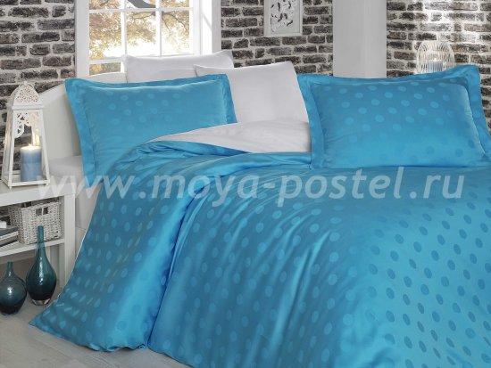 Постельное белье из бамбука «DIAMOND SPOT», бело-голубое, евро в интернет-магазине Моя постель