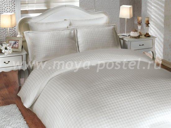 Кремовое постельное белье «DIAMOND HOUNDSTOOTH» из бамбука, евро в интернет-магазине Моя постель
