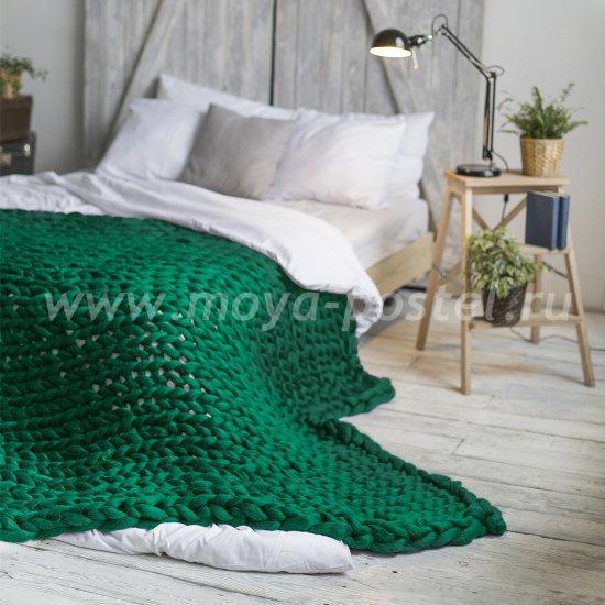 Плед из толстой пряжи Hygge Dome (100% шерсть) 260х200 Зелёный в каталоге интернет-магазина Моя постель