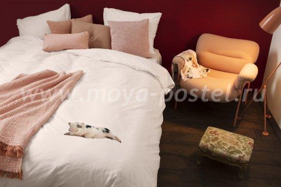 """Розовое постельное белье из перкали """"Поросенок"""", полуторное в интернет-магазине Моя постель"""