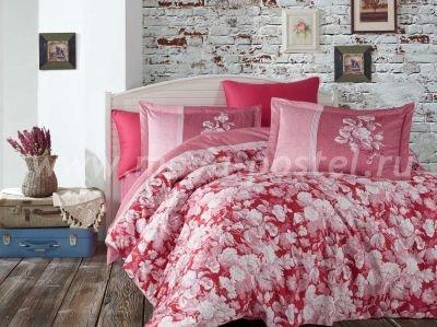 """КПБ Евро размера сатин """"AMALIA"""", бордовый, 100% Хлопок в интернет-магазине Моя постель"""