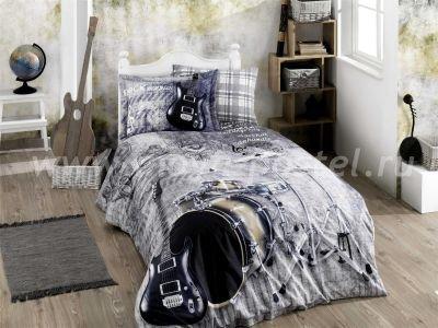 """КПБ 1,5 сп. (Евро) поплин """"ROCK MUSIC"""", серый, 100% Хлопок в интернет-магазине Моя постель"""