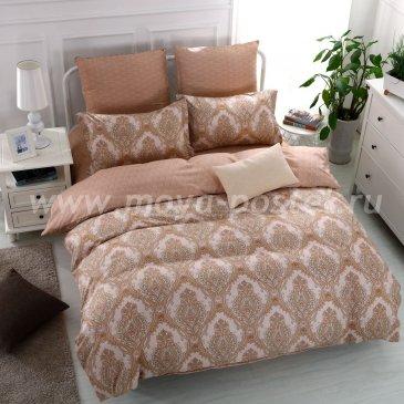 Бежевое постельное белье с растительным узором, евро в интернет-магазине Моя постель