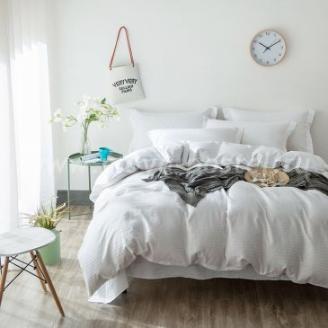 Однотонный евро комплект постельного белья из страйп-сатина CR001 в интернет-магазине Моя постель