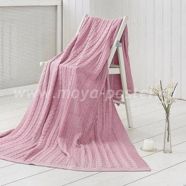 Розовый плед Kappe из вязаного акрила (130х160 см) в каталоге интернет-магазина Моя постель