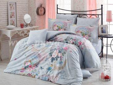 Бирюзовое постельное белье евро размера «SEREFINA» с 3D принтом, поплин в интернет-магазине Моя постель