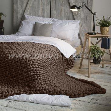 Плед Hygge из шерсти мериноса цвета Молочный Шоколад (120х170 см) в каталоге интернет-магазина Моя постель
