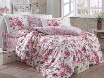 КПБ ALESSIA с розовыми цветами цвета пудра, евро в интернет-магазине Моя постель
