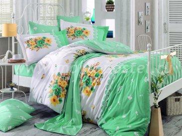 Семейный комплект с цветами зеленый ALVIS, хлопок в интернет-магазине Моя постель