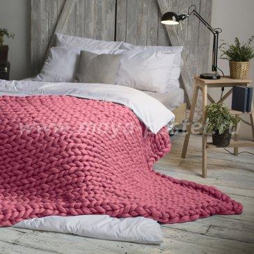 Плед Hygge из шерсти мериноса цвета Пепел Розы (140х200 см) в каталоге интернет-магазина Моя постель