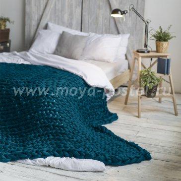 Плед Hygge из шерсти мериноса цвета Морская Волна (120х170 см) в каталоге интернет-магазина Моя постель