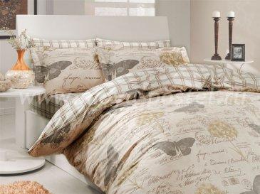 Полутороспальное постельное белье из поплина «ANCELICA», кремовый цвет с принтом в стиле крафт в интернет-магазине Моя постель