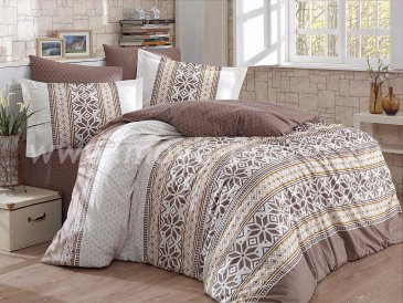 Постельное белье «CARLA» коричневое с орнаментом, поплин, полуторспальное в интернет-магазине Моя постель