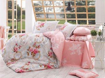 Ярко-розовое постельное белье из поплина «CLEMENTINA» с розами, семейное в интернет-магазине Моя постель