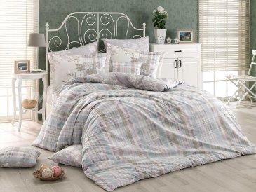 Серое постельное белье из поплина «ELENORA» в клетку, полутороспальное в интернет-магазине Моя постель