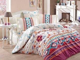 Бордовое постельное белье с имитацией вышивки «FRANCESCA» из поплина, полутороспальное в интернет-магазине Моя постель