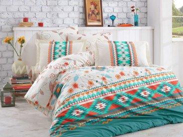 Зеленое постельное белье с имитацией вышивки «FRANCESCA» из поплина, полутороспальное в интернет-магазине Моя постель