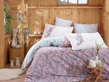 Лиловое постельное белье «GIULIA» с орнаментом «турецкий огурец», поплин, семейное в интернет-магазине Моя постель