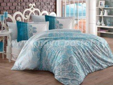 Бирюзовое постельное белье «IRENE» из поплина, семейное в интернет-магазине Моя постель