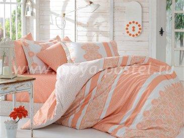 Постельное белье из поплина «LISA» персикового цвета с цветочным орнаментом, семейное в интернет-магазине Моя постель