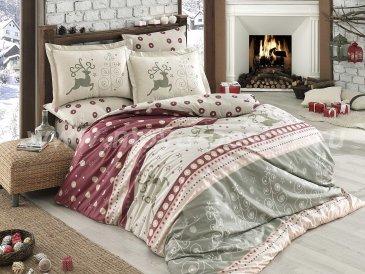 Постельное белье из поплина «LUDOVICA» бордовое с рождественским принтом, семейное в интернет-магазине Моя постель