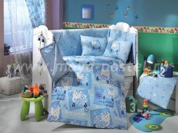 Детское постельное белье голубого цвета с покрывалом «LITTLE SHEEP», поплин в интернет-магазине Моя постель