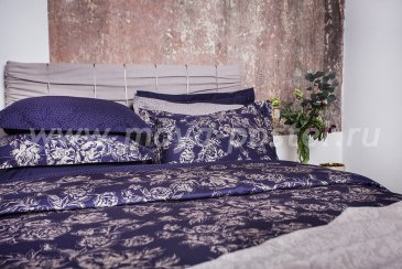 Комплект постельного белья DecoFlux Сатин Евро Peony Indigo в интернет-магазине Моя постель