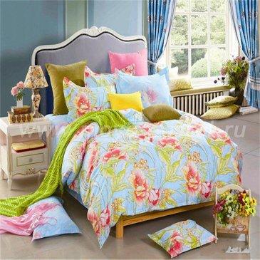 Евро комплект голубого постельного белья делюкс сатин L50 (70*70 и 50*70) в интернет-магазине Моя постель