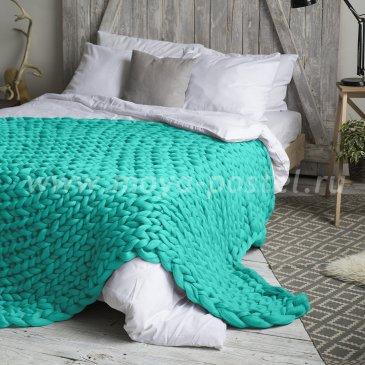 Бирюзовый Плед Hygge из шерсти мериноса (60х100 см) в каталоге интернет-магазина Моя постель