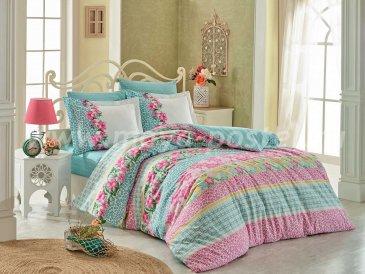 Бирюзовое постельное белье «SCARLET» из поплина, евро размер в интернет-магазине Моя постель